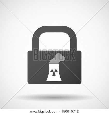 Isolated Lock Pad Icon With A Nuclear Power Station