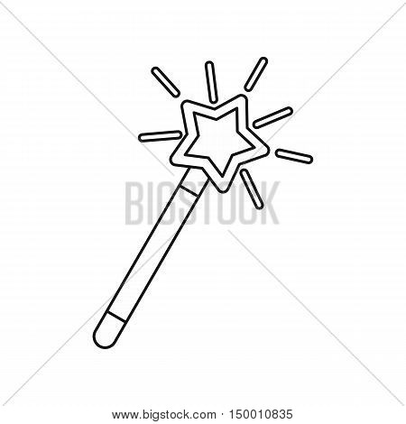 Magic wand icon in outline style isolated on white background. Tricks symbol vector illustration