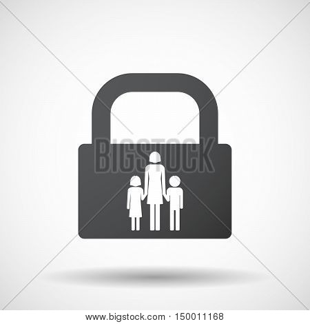 Isolated Lock Pad Icon With A Female Single Parent Family Pictogram