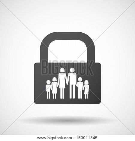 Isolated Lock Pad Icon With A Large Family  Pictogram