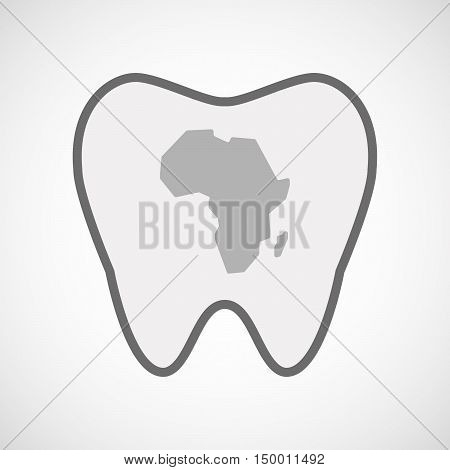 Isolated Line Art Tooth Icon With  A Map Of The African Continent