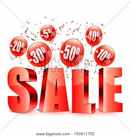 Sale advertisment and red balloons with different discount values