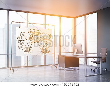 Sunlit room with panoramic windows computer table and whiteboard with business icons. Concept of CEO office. 3d rendering