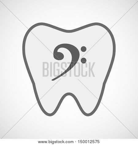 Isolated Line Art Tooth Icon With An F Clef