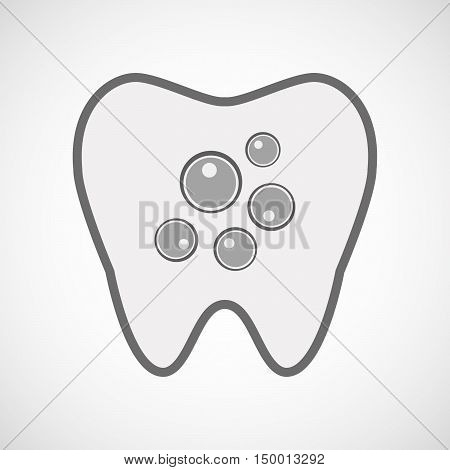 Isolated Line Art Tooth Icon With Oocytes