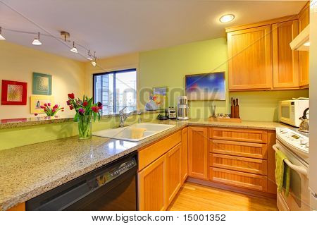 Happy Yellow Green Kitchen With Spring Flowers