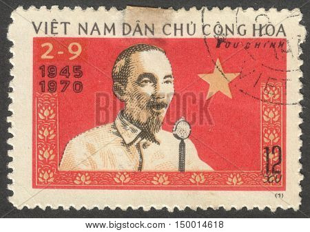 MOSCOW RUSSIA - CIRCA SEPTEMBER 2016: a stamp printed in VIETNAM shows a portrait of Ho Chi Minh the series