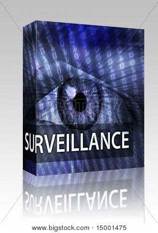 Software package box Surveillance illustration, eye over digital data information