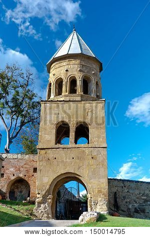 Mtskheta. Georgia. Ancient stone tower. vertical photo.