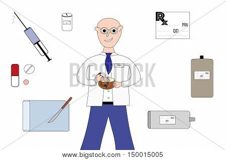 Pharmacist with syringe, capsule, tablet, pill, counter, vial, bottle, prescription, bottle and cream tube on white.