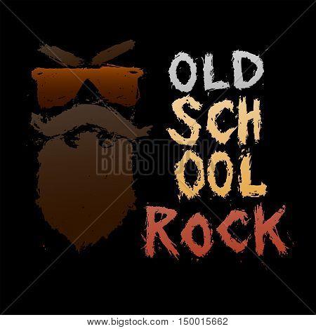 Vintage poster Old school rock - unique hand drawn lettering. Rock music print, hipster vintage label, graphic design with grunge effect, tee print stamp. t-shirt lettering artwork