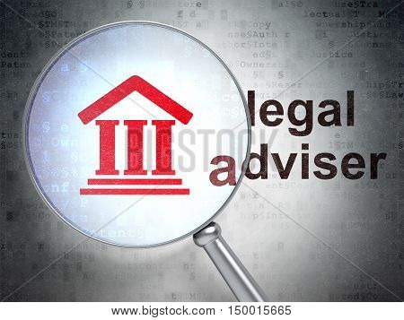 Law concept: magnifying optical glass with Courthouse icon and Legal Adviser word on digital background, 3D rendering