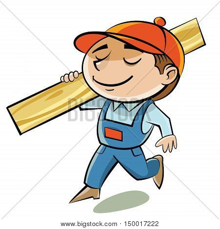 A carpenter in a red cap bears edged boards on the shoulder.