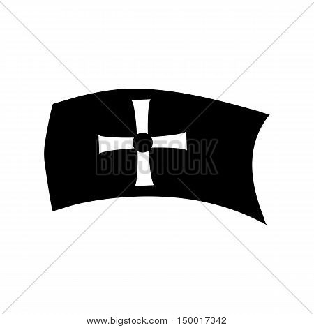 Flag with sign of Columbus icon in simple style isolated on white background. Marking symbol vector illustration