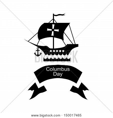 Ship and ribbon of Columbus day icon in simple style isolated on white background. Holiday symbol vector illustration