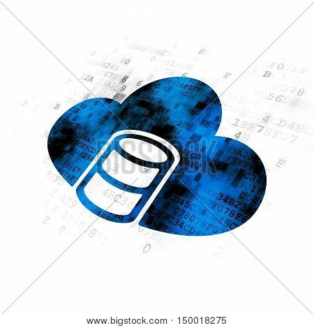 Software concept: Pixelated blue Database With Cloud icon on Digital background