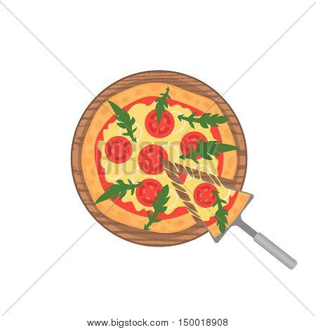 Margherita pizza on wooden board on white. Slice with melting cheese. Vector illustration. Cartoon style.