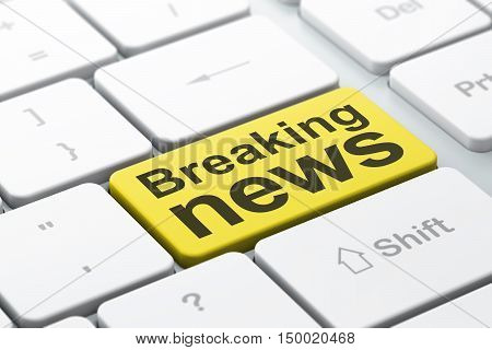 News concept: computer keyboard with word Breaking News, selected focus on enter button background, 3D rendering