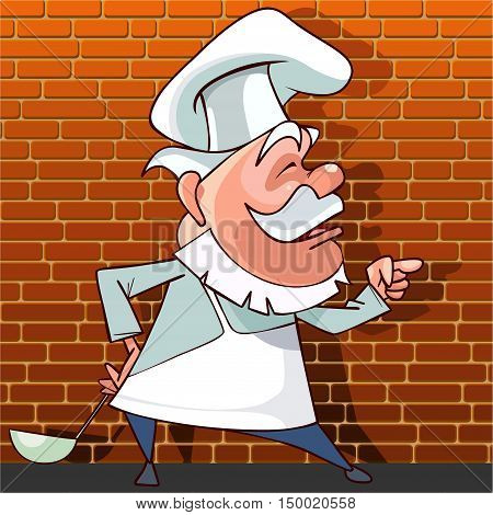 tells the cartoon cook with a ladle in hand