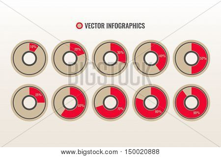 Infographics vector, 10 20 25 30 40 50 60 70 80 90  percent pie charts isolated