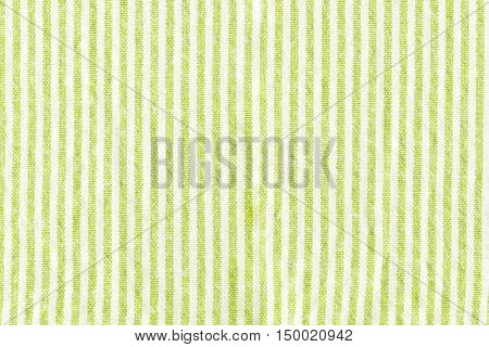 close up Green strips tablecloth texture background.