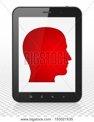 Marketing concept: Tablet Pc Computer with red Head icon on display, 3D rendering