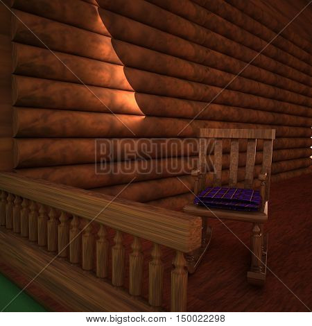 Rocking chair in a wooden porch 3d rendering