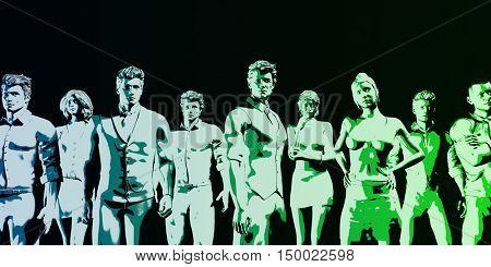 Human Resources Management Manpower Workforce Concept Art 3D Illustration Render