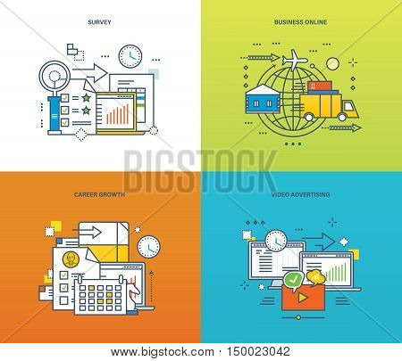 Concept of surveys and polls, online business and video advertising, career growth. Color Line icons collection. Vector design for website, banner, printed materials and mobile app.