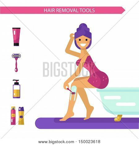 Vector flat design illustration of epilation or depilation procedure. Beautiful smiling girl in towels depilating legs with razor. Shaving foam and gel bottles, cream icons.