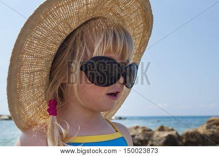 Toddler girl looks