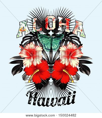 Slogan aloha hawaii illustrated black and white tropical leaves red and pink hibiscus flowers and butterfly hand drawn watercolor in a trendy mirror style. Vector art print shirt wallpaper