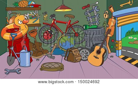 Cartoon animated garage sale of old objects
