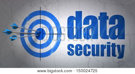 Success security concept: arrows hitting the center of target, Blue Data Security on wall background, 3D rendering