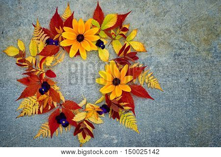 Autumn Flowers And Leaves Wreath Top View, With Copy Space For Your Text In The Middle And In A Side