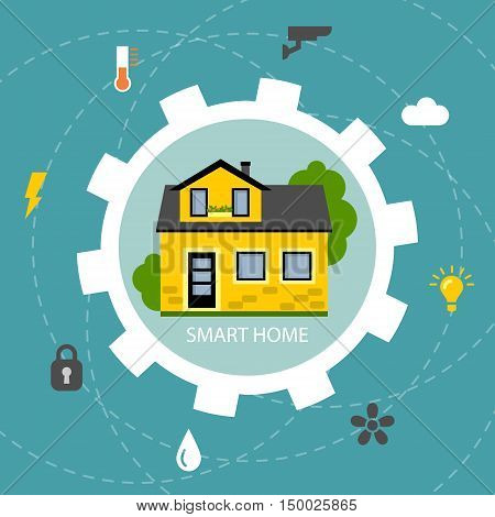 Smart home concept. Control home system as energy, conditioning, temperature and more. Wireless system. House in gear.