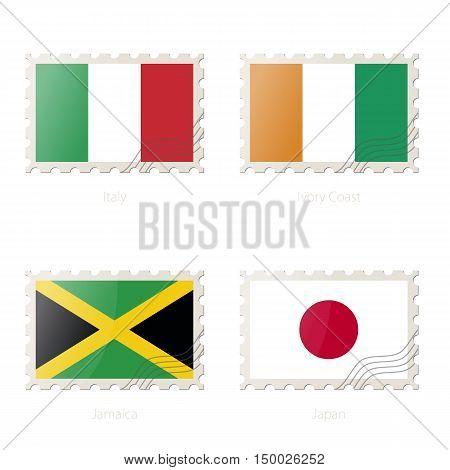 Postage Stamp With The Image Of Italy, Ivory Coast, Jamaica, Japan Flag.