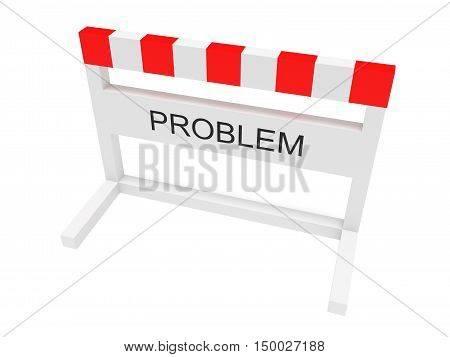 Hurdle Problem 3d illustration on a white background