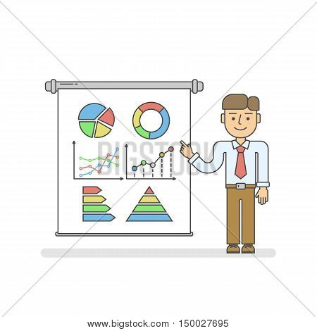Business presentation concept. Isolated cartoon man with chart board on white background. Smiling businessman pointing at board. Idea of analyst, speaker or lecturer.