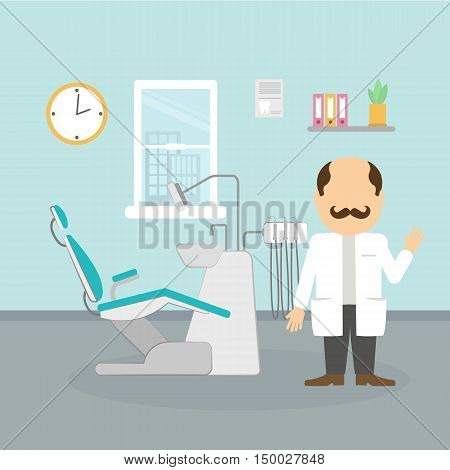 Dentist at the cabinet. Modern cabinet with equipment and tools. Professional man with moustache in white.