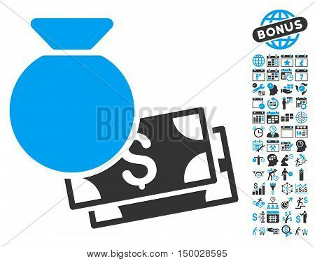 Money Bag pictograph with bonus calendar and time management design elements. Vector illustration style is flat iconic bicolor symbols, blue and gray colors, white background.