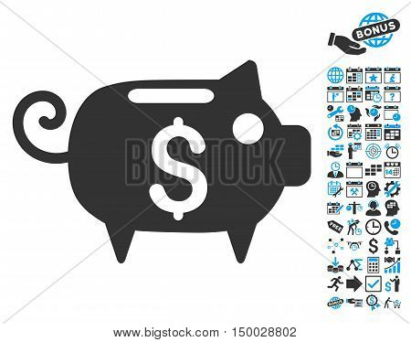 Piggy Bank icon with bonus calendar and time management icon set. Vector illustration style is flat iconic bicolor symbols, blue and gray colors, white background.