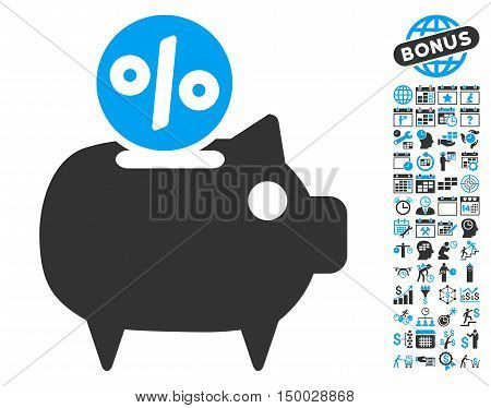 Piggy Bank icon with bonus calendar and time management symbols. Vector illustration style is flat iconic bicolor symbols, blue and gray colors, white background.