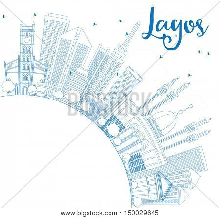 Outline Lagos Skyline with Blue Buildings and Copy Space. Vector Illustration. Business Travel and Tourism Concept with Modern Architecture. Image for Presentation Banner Placard and Web Site.