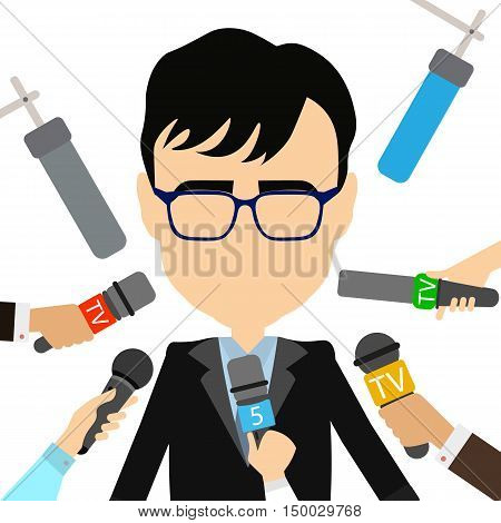 Press conference concept. Isolated politician or businessman gives interview. Hands with microphones. Live broadcasting.