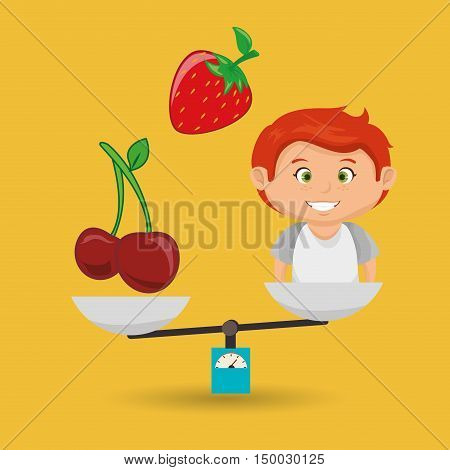 cartoon boy food fruit balance vector illustratin
