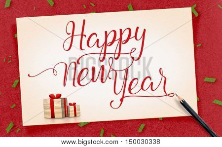 Happy New Year Word On Old Vintage Paper Craft With Present And Pencil With Green Confetti On Red Cr