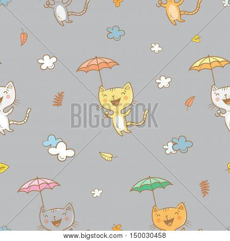 Seamless pattern with cute cartoon cats under an umbrella on gray background. Flying kittens. Autumn season. Windy weather and falling leaves. Funny animals. Vector image. Children's illustration.