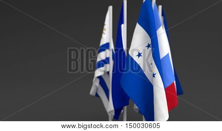 Illustration 3D Render, Flags Of The Five Countries Of The Central America .