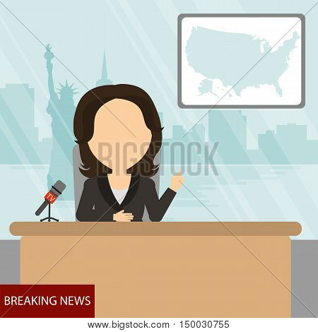 Breaking news on tv. Female news reporter with microphone sitting at the table. Latest information. Tv screen with headline.